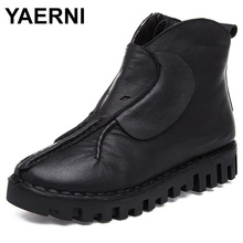YAERNI Flats Ankle Boots de Couro Genuíno Botas Martin Botas Outono Inverno Mulheres Quentes Sapatos de Plataforma Preto Botas Feminina E615