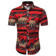 Linen Shirt for Man Plus Size Hawaiian style Short-sleeved Blouse Men Social Mens Clothes Slim fit Red Summer New