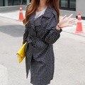Newest Fashion Korean Style Women Casual Loose Jackets Large Size Thin Plaid Long Coat 2017