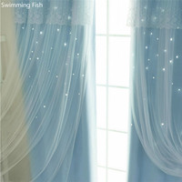 Korean girls heart series princess wind fantasy hollow stars cloth curtain+sheer finished dual layer curtains for bedroom