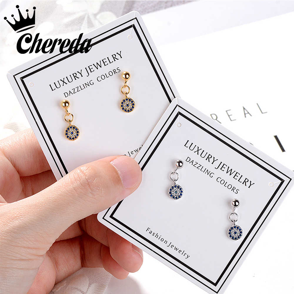 Chereda  Gold  Devil's Eye Drop Earring Turkish Retro Round Earrings Blue eye Clear CZ Crystal Jewelry Party Present