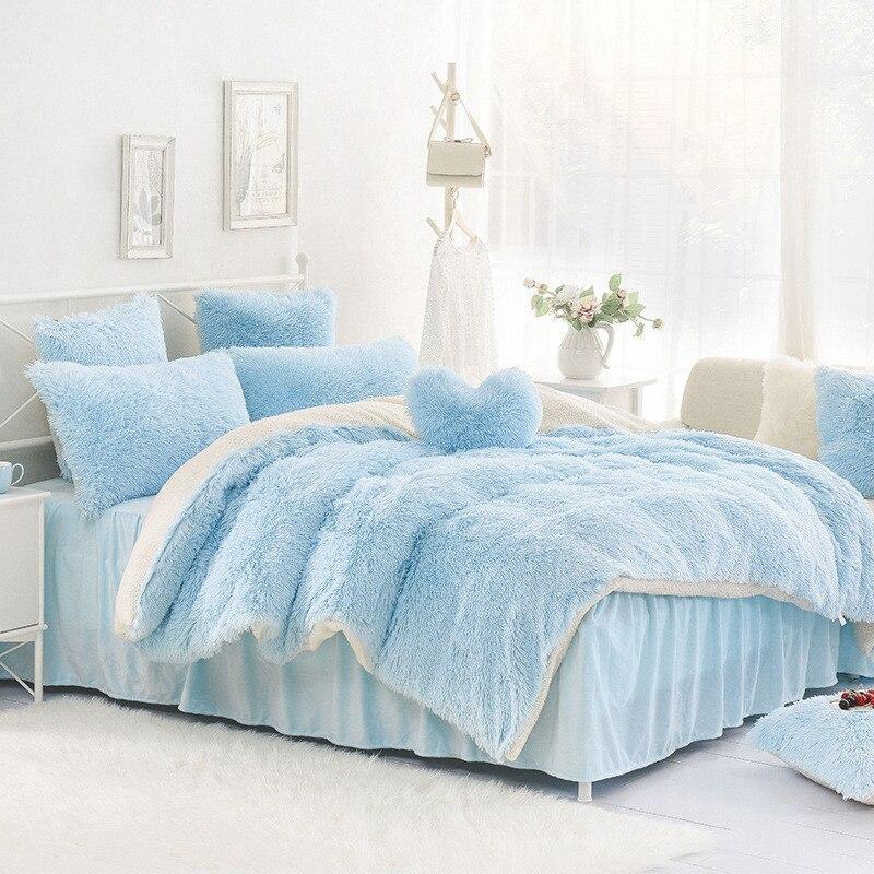 High-quality Purple Blue Pink creamy-white Cashmere Wool Velvet Ruffle Duvet  Cover Bedding