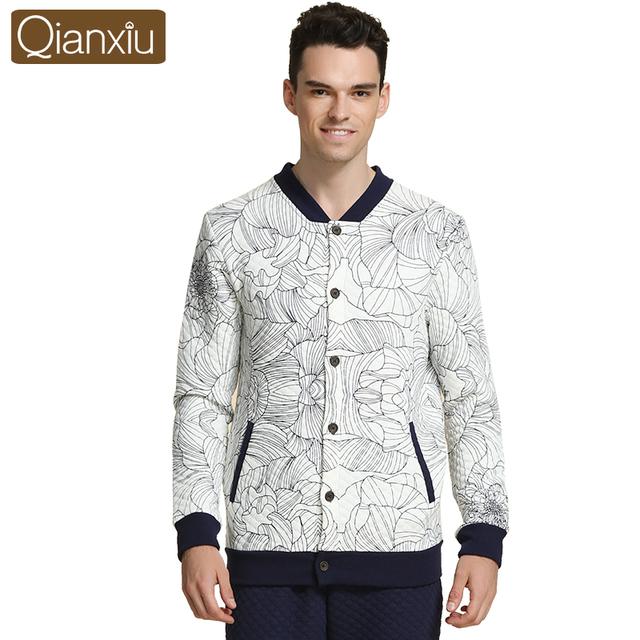 Qianxiu Pijama de Lã Dos Homens De Malha Engrossar Algodão Sono & Lounge Floral Casual Wear Salão