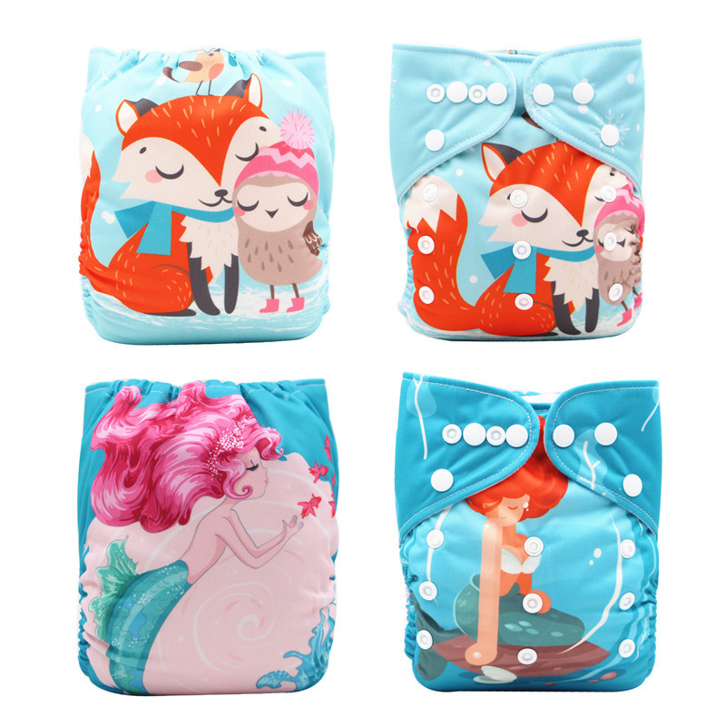 Thank U Mom Stay Dry Cloth Diapers Baby Reusable Nappies Cartoon Printings Aio Pocket Washable Diapers Waterproof Pul Fabric