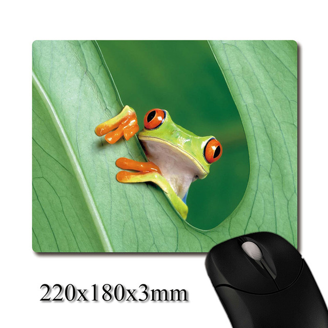 Frog stretched out the head from tree leaf printed Heavy weaving anti-slip rubber pad office mouse pad Coaster Party favor gifts
