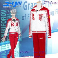 YURI!!! on ICE Anime Cosplay Victor Nikiforov Full Sets Sportswear Suits Uniforms Sports Suits Cosplay Costume Coat+Shirt+Pants