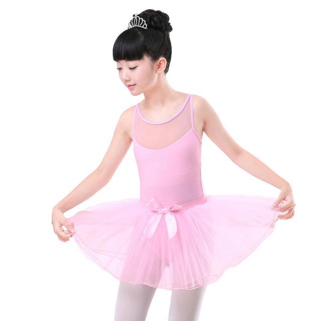 5e5fb26e7 2PCs Kids Girls Camisole Ballet Tutu Tulle Dress Gymnastics Leotard  Practices Dancewear with Skirt