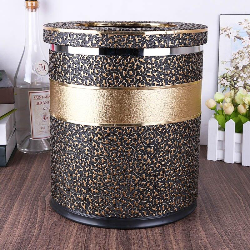US $69.99 |Vintage metal rubbish bins kitchen waste basket Double layer  trash bin trash can kitchen bag holder for home decoration PLJT16-in Waste  ...