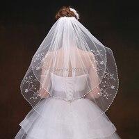 2019 Elegant One Layer Tulle Short Veils White Ivory Wedding Veil Waist Length Bridal Veil