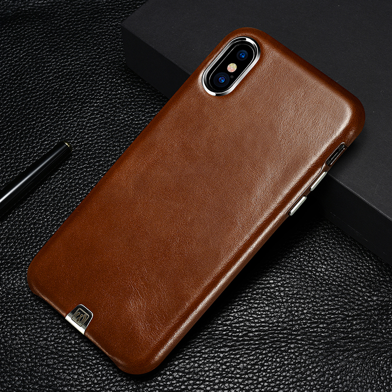 Luxury Vintage Genuine Leather Case For Apple iPhone X Thin Back Cover Metal Volume Button Cell