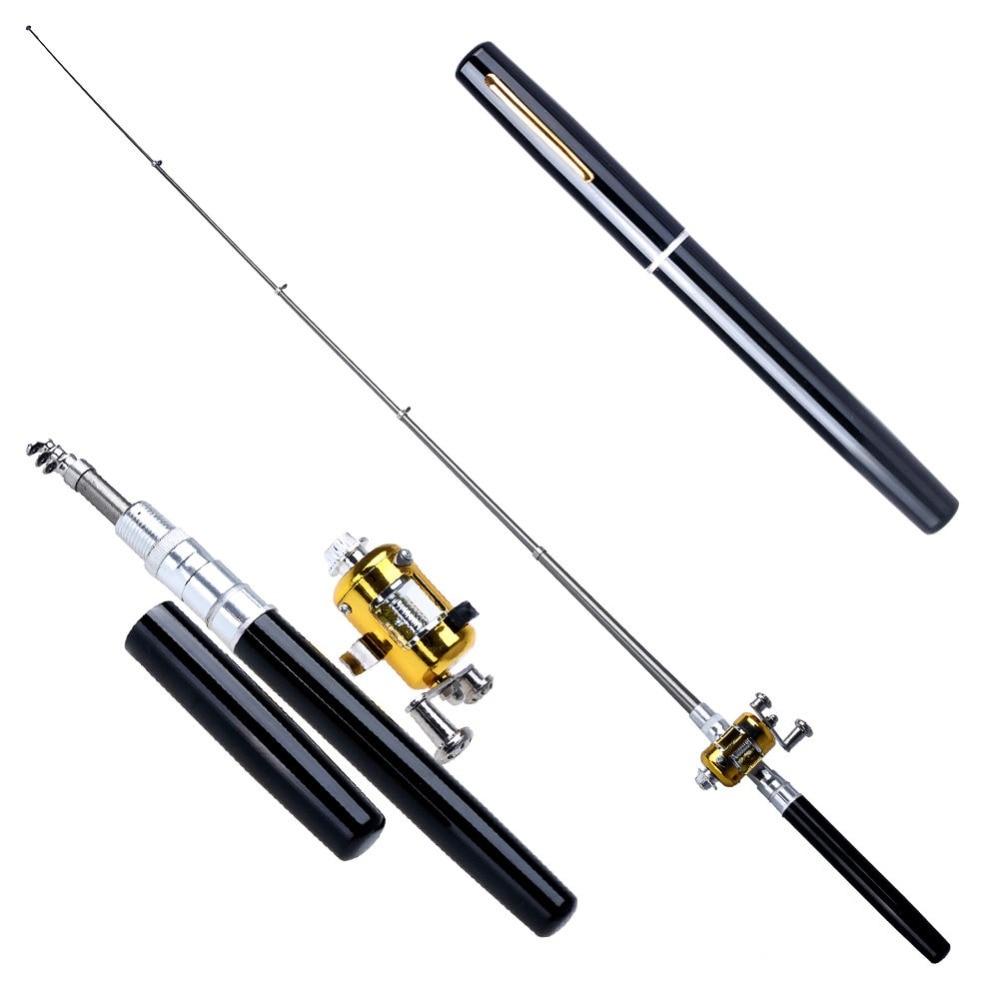Mini telescópica portátil aleación de aluminio de bolsillo pluma de los pescados pesca Rod poste carrete Combos carrete vara de pesca