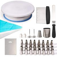 Top selling Pieces Mounting Turntable Kit With Mouth Spatula Scraper And Nail Decorating Tip Sets Plastic Silicone Molds