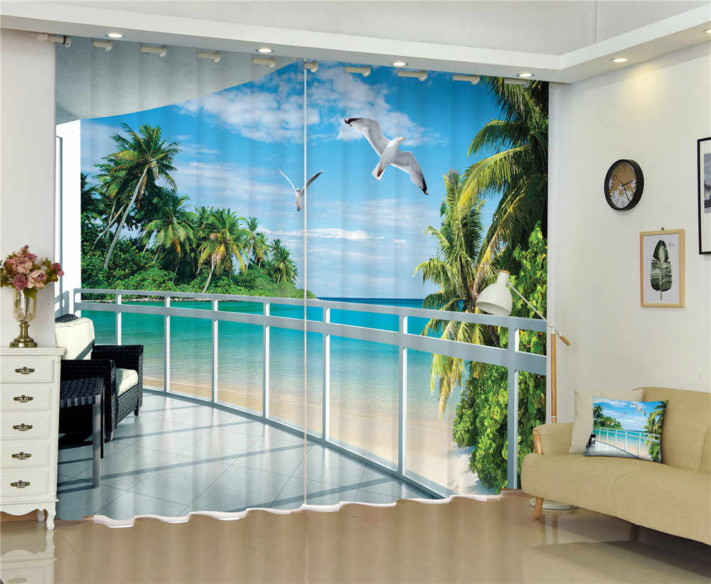 Customized Beach Sea Luxury 3D Blackout  Window Curtains for Living Room Bedroom Decorative Rideaux Drapes Cortinas pillowcase