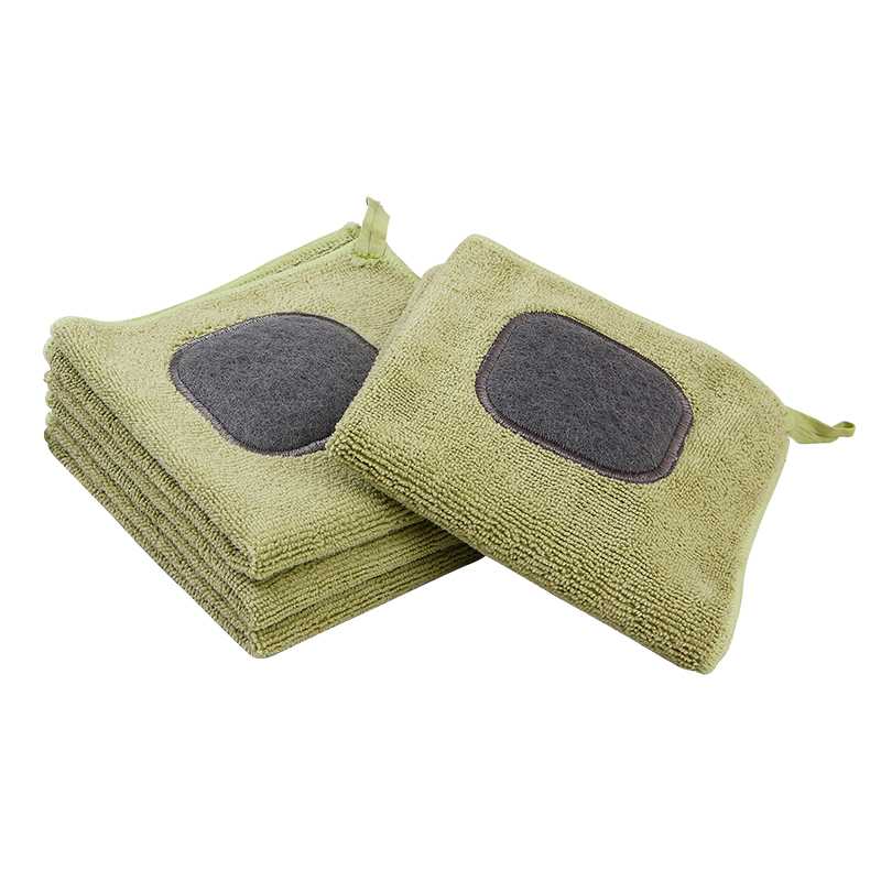 ORZ 4PCS Kitchen Cleaning Cloth Cleaning Wipes Absorbent Towel Washing Clean Poly Scour Side For Bar Dish Scouring Pad