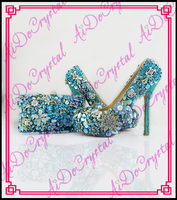Aidocrystal Ladies Blue Rhinestones Crystal Shoes Evening Shoes And Purse Party Handbags