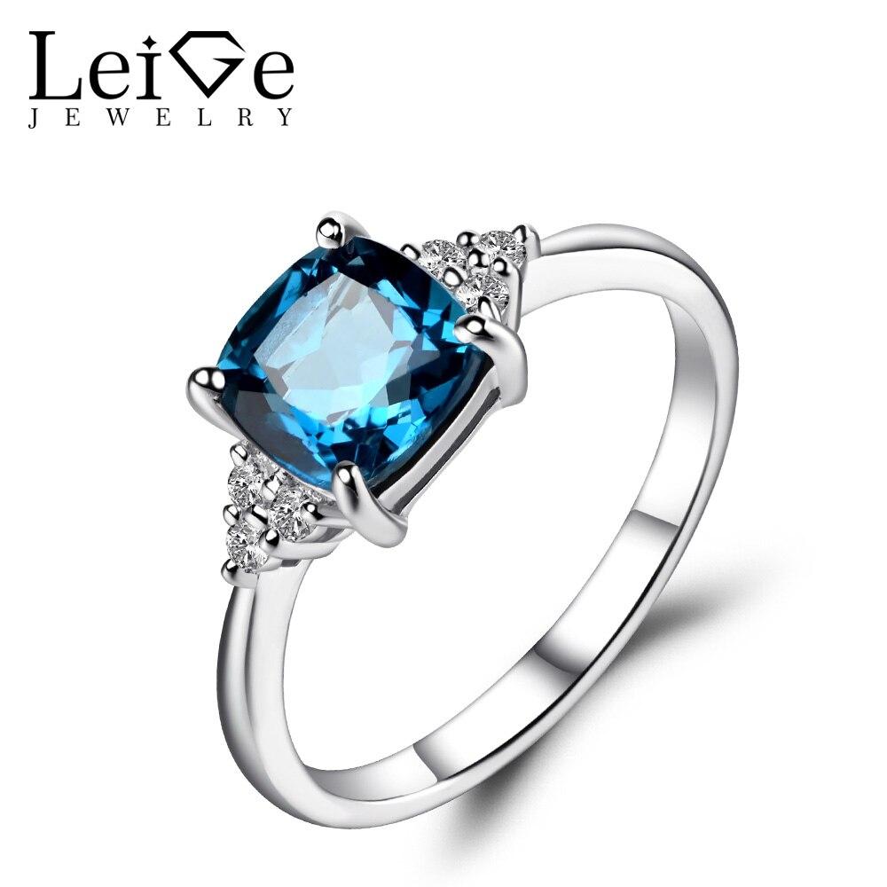 Leige Jewelry Cushion Cut London Blue Topaz Ring Silver 925 Wedding Engagement Rings for Women Blue Gemstone Fine Jewelry vera blue london