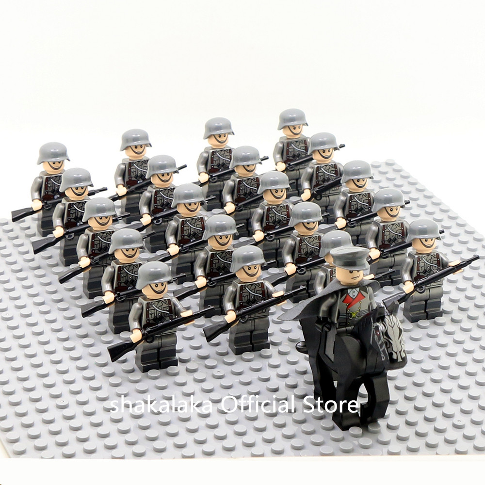 21pcs Officer Soldier WW2 German Army Horse Troop Military SWAT Team Weapon Building Blocks Bricks Figures Educational Toys Boys