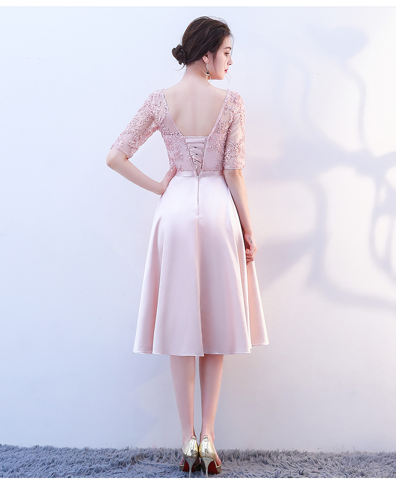 6a6915b209d48 KBS025F#Stand collar Short Medium Long pink lace up Bridesmaid Dresses  wedding party prom dress 2018 new wholesale clothing