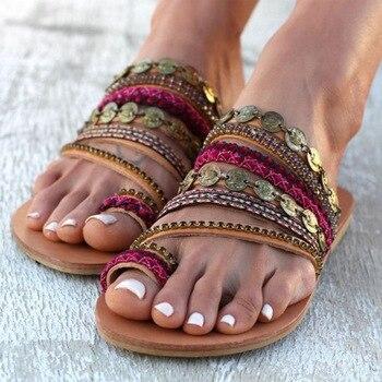 Summer Sandal for Women Celebrity Bohemian Handmade Beaded Rhinestones Flat Sandal 4