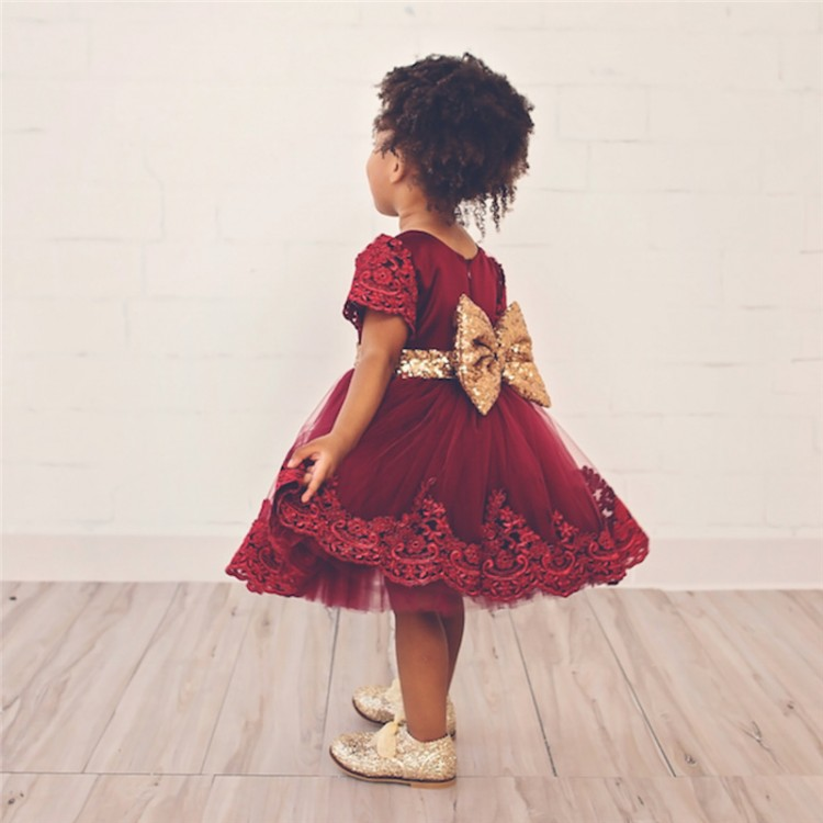Wholesale DHL EMS Free 2017 New Styles Lace Princess Baby Girls Toddlers Kids Dress Party Mesh Dress Valentine Wear Sequin Bow  day dress