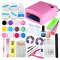 Nail Art Kit 36W UV Dryer Lamp Manicure Machine 12 UV Gel Nail Polishes Painting Cleanser Plus French Tips For Salon Manicure
