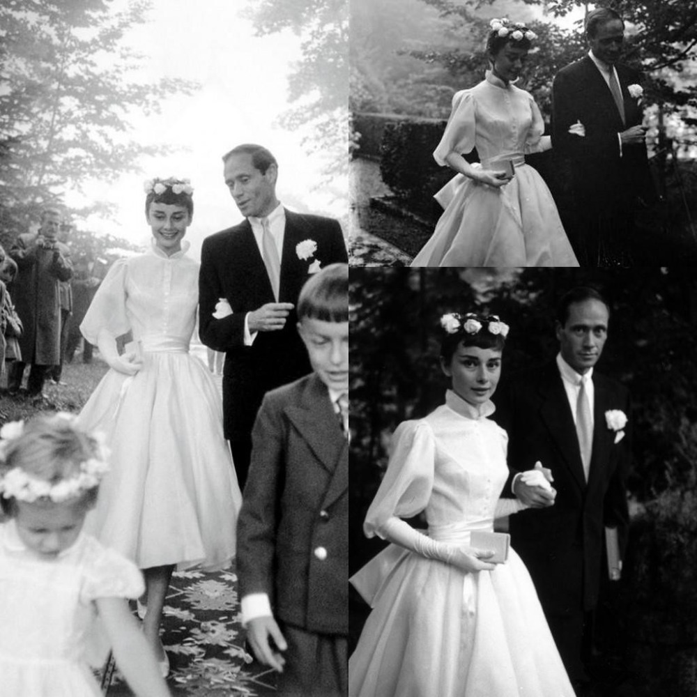 Wedding Dresses with Long Sleeve Vintage vestido de noiva Tea-length High Neck Garden Princess Wedding Dress Cheap Custom Make