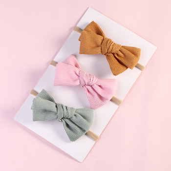 100 pcs/lot, Handtied Corduroy Bow Baby Nylon Headbands, Children Girls Hair Accessories