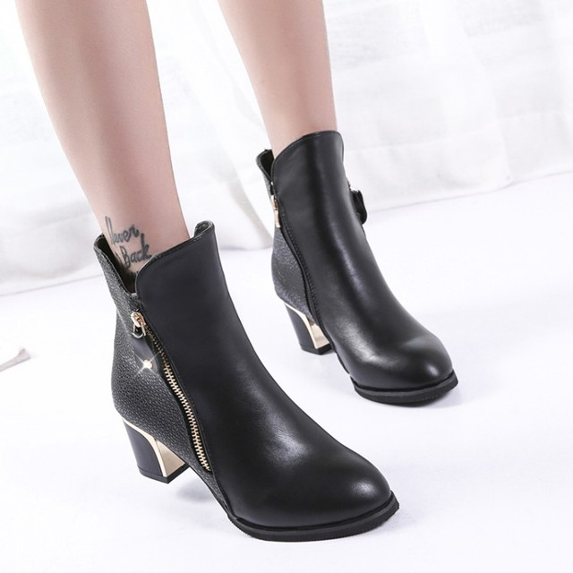 Womens Ankle Boots - Casual Chunky Heels Pointed Toe Platform Shoes