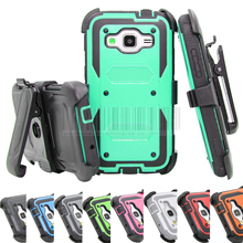 Heavy Duty Armor Hybrid Hard Case Stand Protective Cover+Holster With Belt Clip For Samsung Galaxy Amp Prime