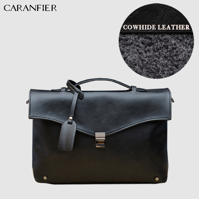 CARANFIER Mens Briefcase PU Leather Handbags Business 14 Inches Laptop Single Solid Color Shoulder Crossbody Bags Messenger Bags
