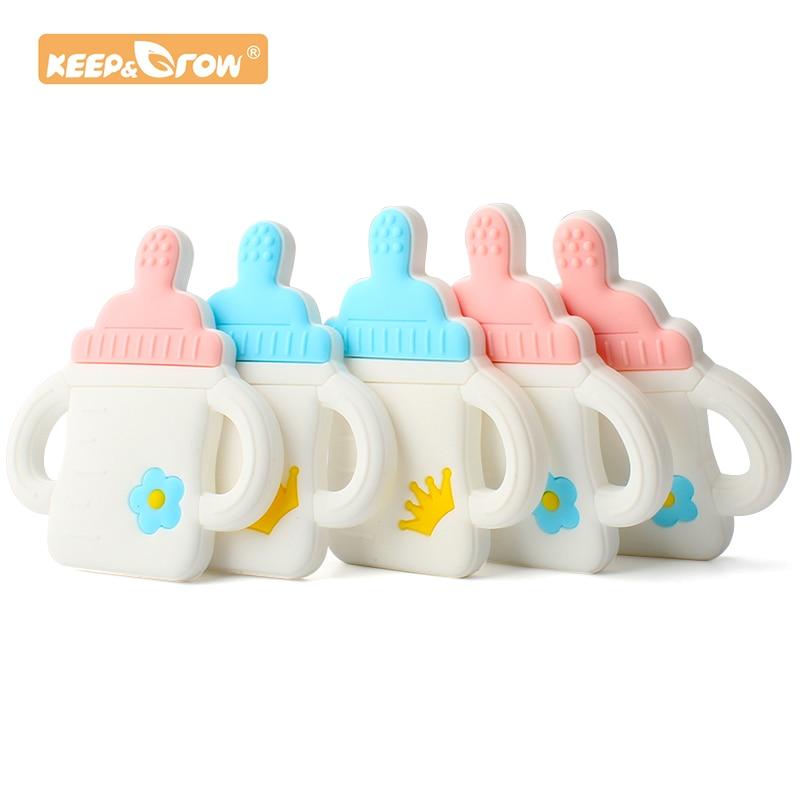 Keep&Grow 1pc Cartoon Milk Bottle Baby Teethers Food Grade BPA Free Silicone Chew Baby Teething Gift Toddler Toys