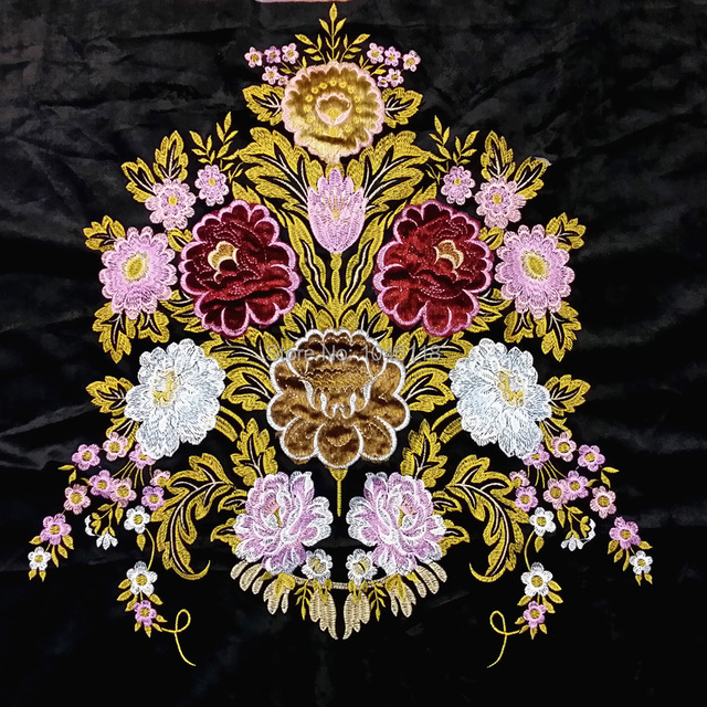 Deluxe Applique Floral Location Design Black Velvet Upholstery