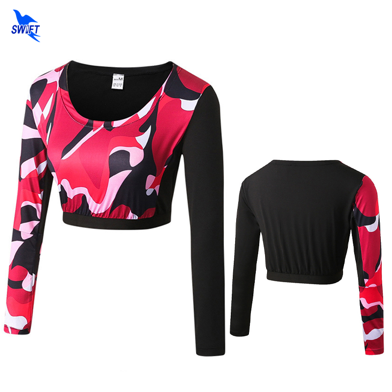Camouflage Women Sport Compression Skin Tight Long Sleeve Yoga Shirt Fitness Gym Running Short Style Camo Undershirt Crop Tops