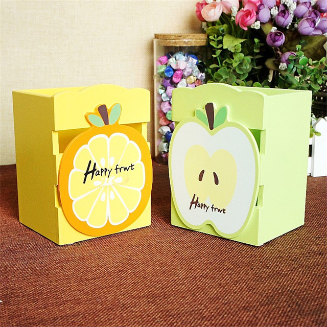 Cute Fruit Style Pen Container Wooden Table Decorations Creative ...