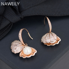 Delicate Shell Earrings Imitation Pearl Drop Earring For Women Girls Rose Gold Silver Crystal Earring Fashion Jewelry цена