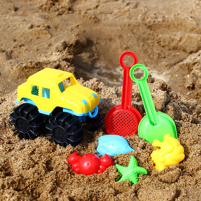 Classic Toys For Children 7pcs Beach Toys Jeep Convertible Pyramid