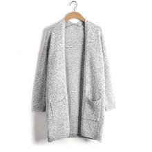 Autumn Winter Warm Women Sweater Cardigan Casual Gray Long Fashion Knitting Cardigan Coat Plus Size Loose Pull Femme Outwear