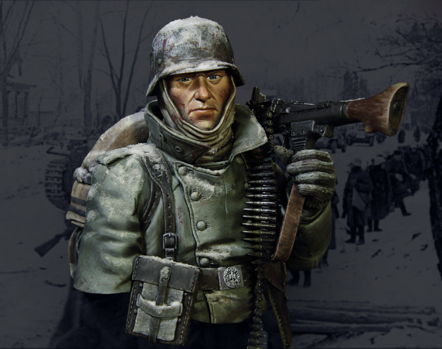 40K X-102 World War II German machine gunner winter Germany
