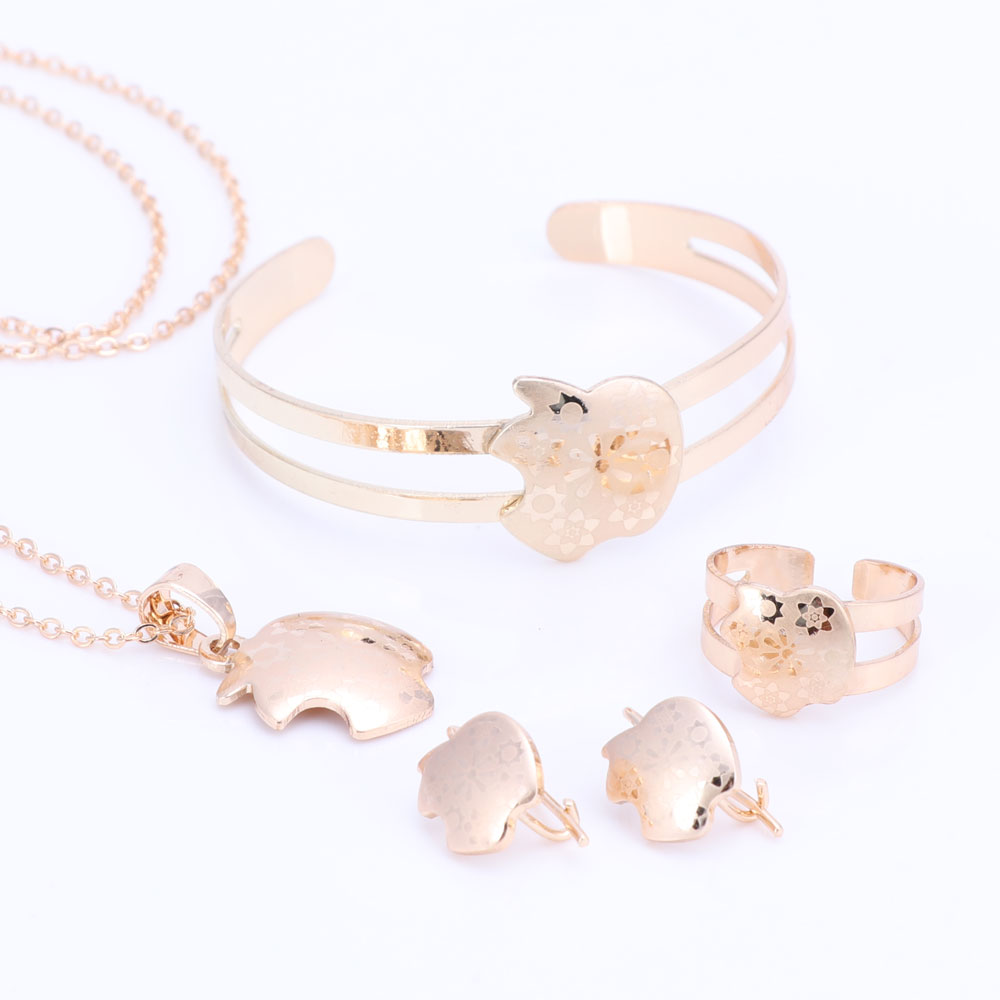 Gold Color Baby Jewelry Set Gift Children Jewelry Sets Kids Jewellery Ring Earring Bracelet Pendant Necklace Jewelry Set