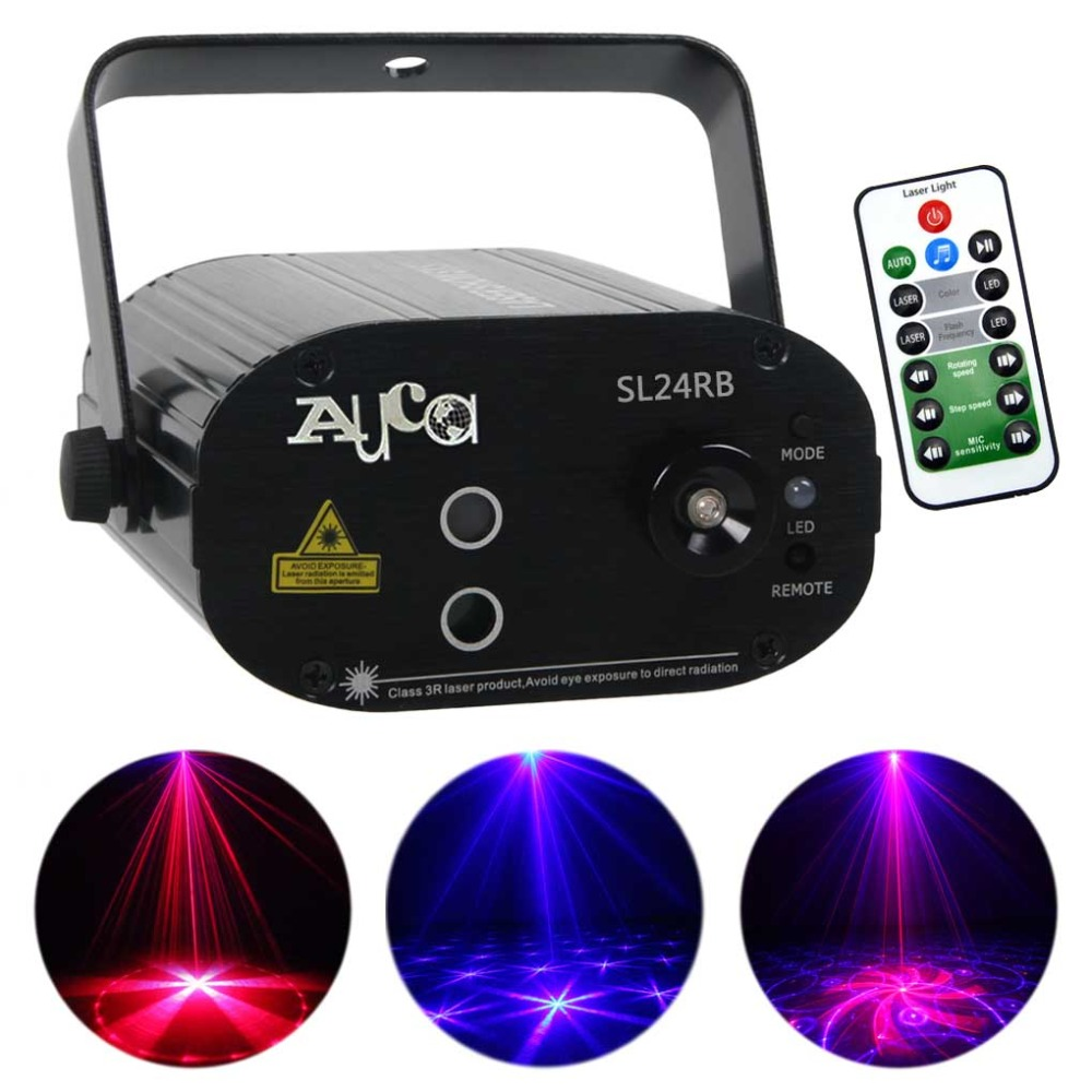 Mini Remote Sound RG 24 Patterns Լազերային լույսերի պրոյեկտոր լամպ 3W Blue LED Mixing Effect DJ KTV Home Party Stage Lighting SL24RB