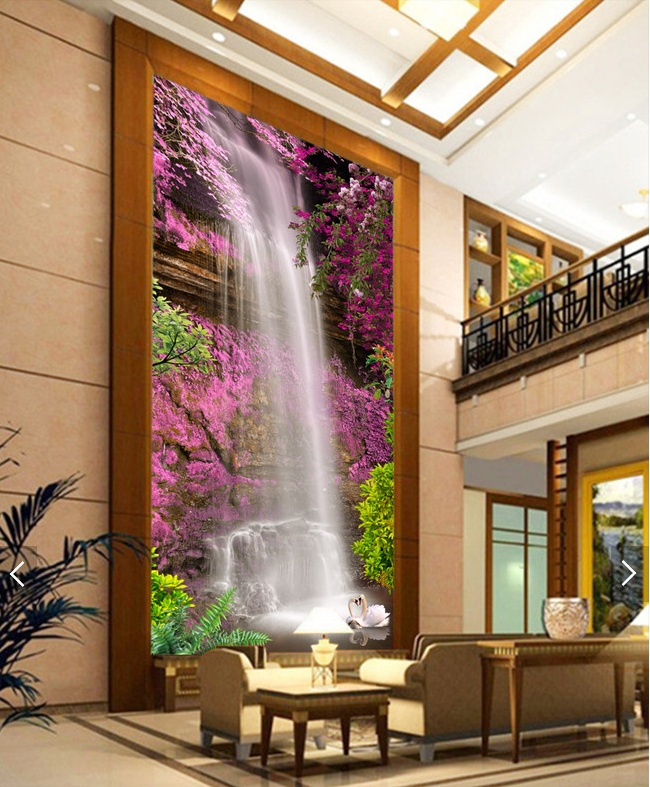 где купить 3d room wallpaper custom mural non-woven Wall sticker  waterfall swan pink flowers porch painting photo wallpaper for walls 3d дешево