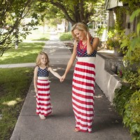 EMS DHL Free Shipping Wholesale Little Girls Kids Baby Mom Family Dress American 4th Of July