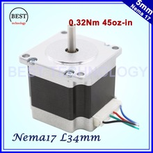 Free shipping ! Nema17 stepper motor 0.32 N.m 45Oz-in 42x34mm stepping motor 0.4A 4-lead wires for 3D printer for CNC machine