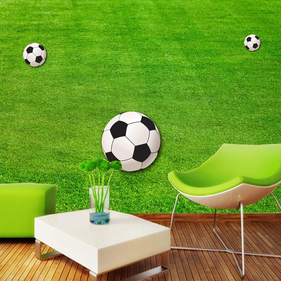 US $8 2 OFF Kustom 3D Theme Foto Wallpaper Lapangan Sepak Bola Dinding Mural Untuk Anak Anak Sofa Ruang Tamu Kamar Tidur Anak Anak Kertas Dinding