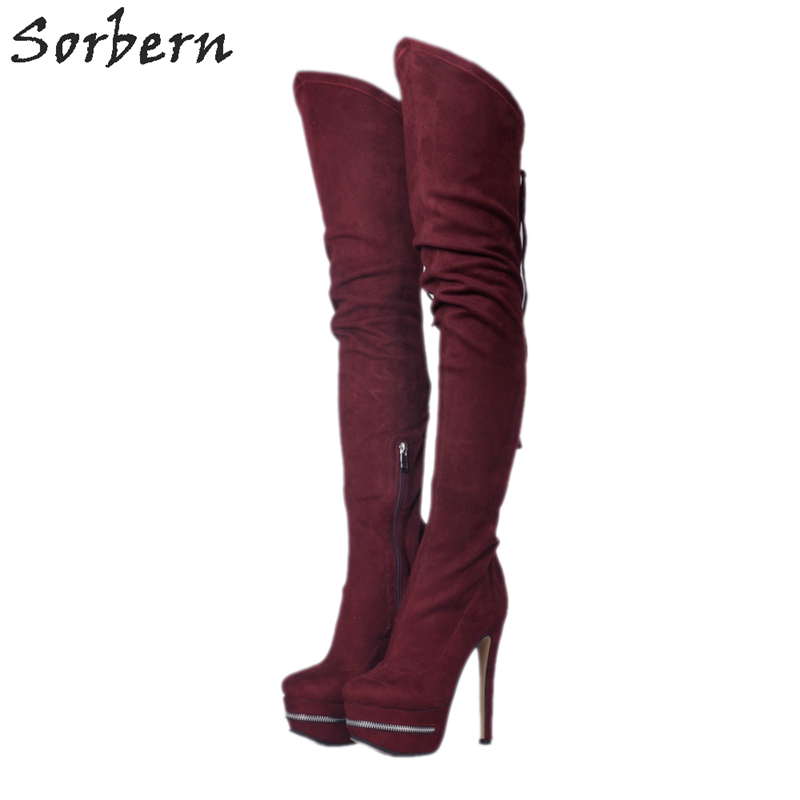 Sorbern Wine Red Thigh High Boots Black High Heel Shoe Platform Shoes Women Bottes Cuir Genoux Plus Size 34-48 Custom Colors sorbern extrem high heel strange style wedges thigh high boots designer platform boots long custom shoes women plus size 4 15