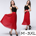 2016 Summer style plus size XXXL maxi skirt High-end chiffon diamond ramie cotton elastic set auger red black skirts women