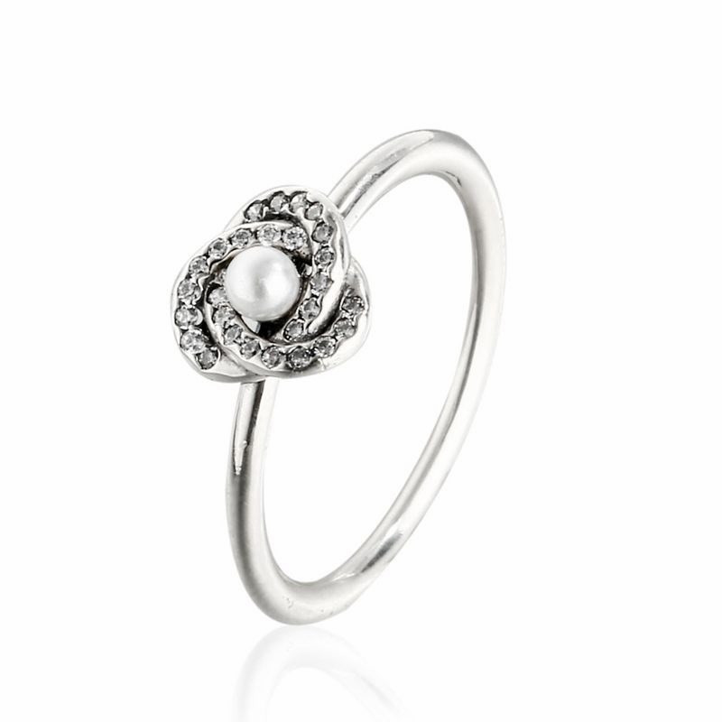 925 Sterling Silver Freshwater Pearl Luminous Love Knot Rings For Women Wedding Band Ring 2017 Mothers Day Gift Jewelry