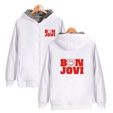 ALIZAZA 2017 Hip Hop Hoodies Punk Coats Zipper Printed Bon Jovi Rock Band Sweatshirts New Fashion Warm Hooded Men thicken
