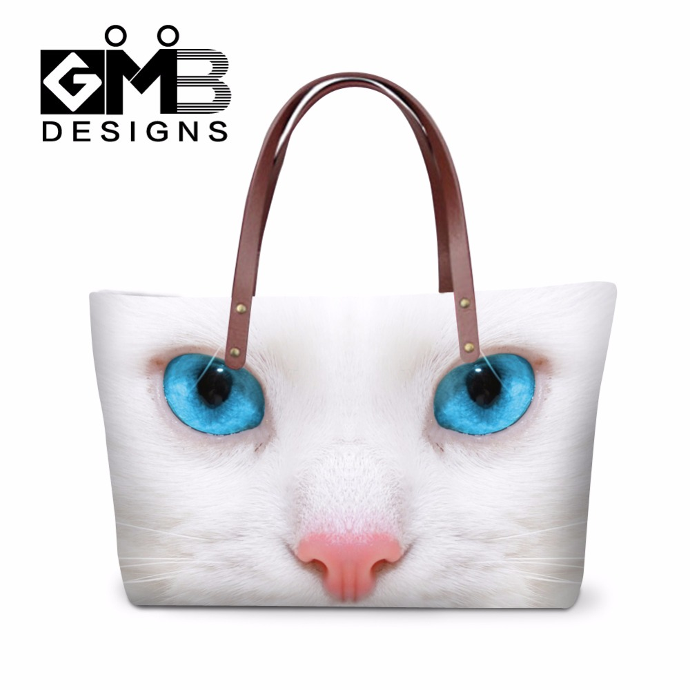 6484817197f8 White Cat carry on handbag for Girls Animal summer hand bags Dog large tote  bags Nice