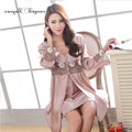 Tinyear Wholesale Long sleeves Sexy Women Silk Kimono Robes and Dress Set M,L,XL,XXL